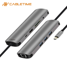 CABLETIME USB C Hub to Multi HDMI USB 3.0 Adapter Dock for MacBook Accessories Matebook 13/X 9in1 USB-C  3 Ports Hub C042