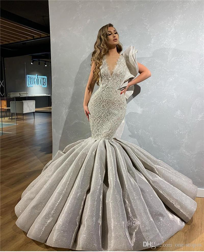 Sexy Silver Mermaid Wedding Dresses Sparkly Sequined 2020 Deep V Neck Lace Appliqued Plus Size Bridal Gown Open Back
