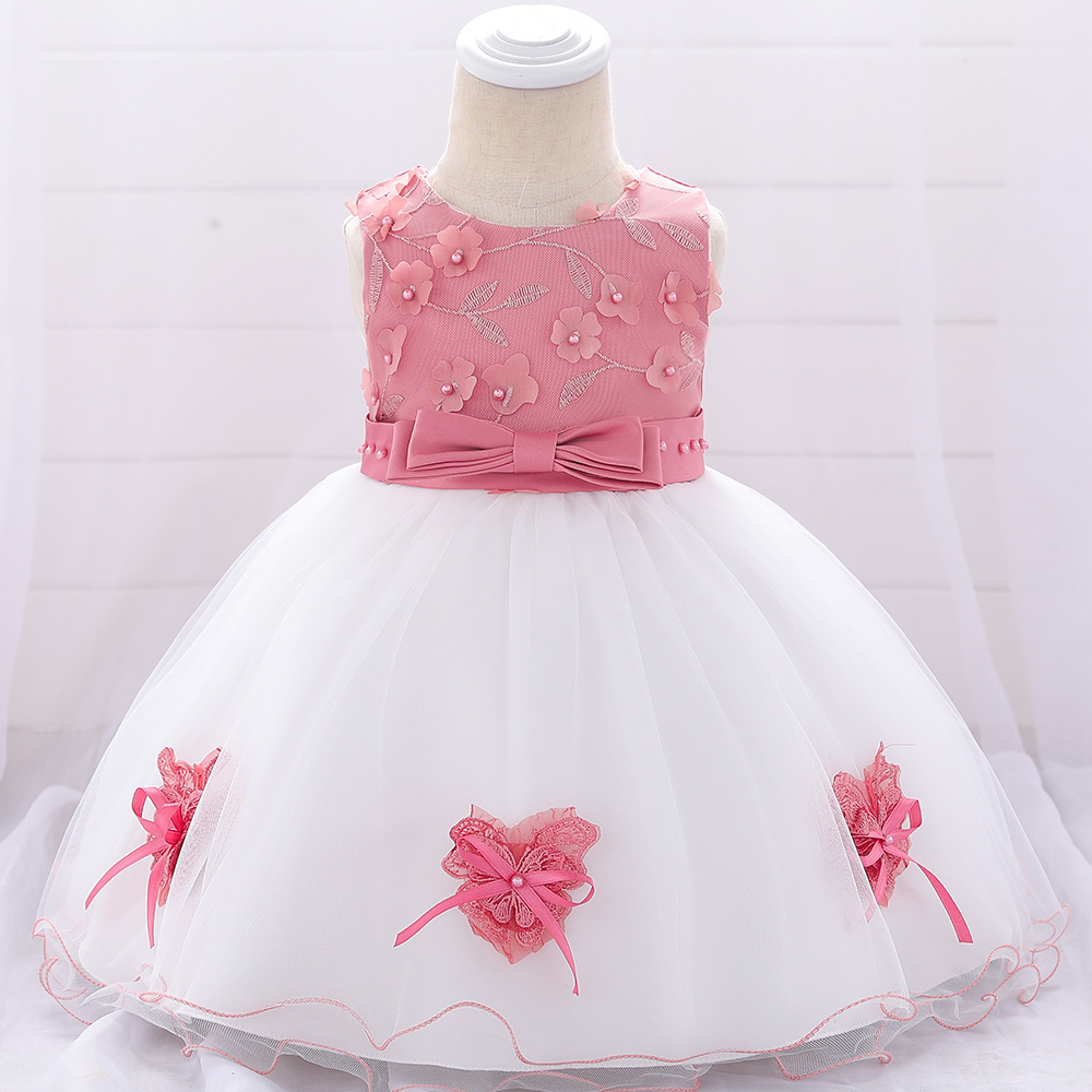 1-3T Puffy   Flower     Girl     Dress   Puffy Navy Blue Pink Bow   Dresses   With Pearl For Wedding Party