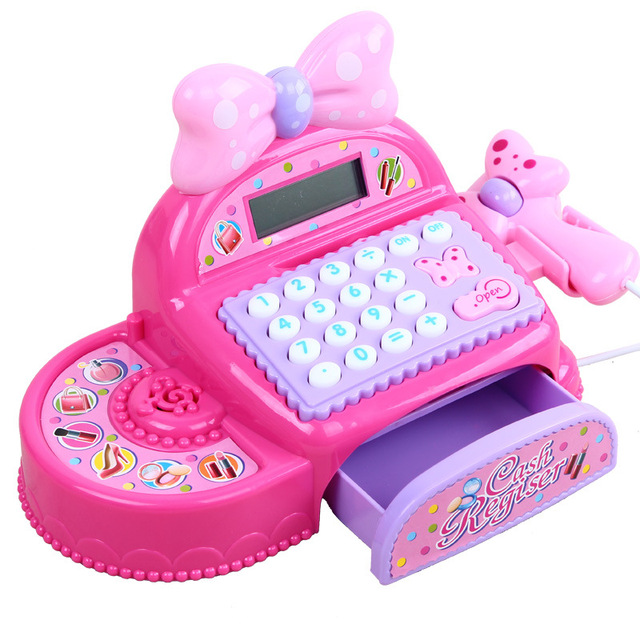 Kids Supermarket Cash Register Simulated Role Play Toys For Girls With Multi-Functional Calculator Pretend Play Toy For Children 4