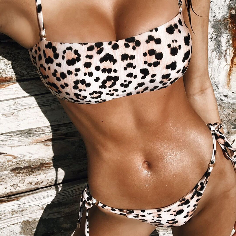 Leopard <font><b>Bikini</b></font> <font><b>Sexy</b></font> <font><b>Push</b></font> <font><b>Up</b></font> <font><b>Bikinis</b></font> <font><b>2019</b></font> <font><b>Mujer</b></font> Two Pieces Swim Suit Low Waist Swimming Suit For Women <font><b>Sexy</b></font> <font><b>Bikini</b></font> Set Swimwear image
