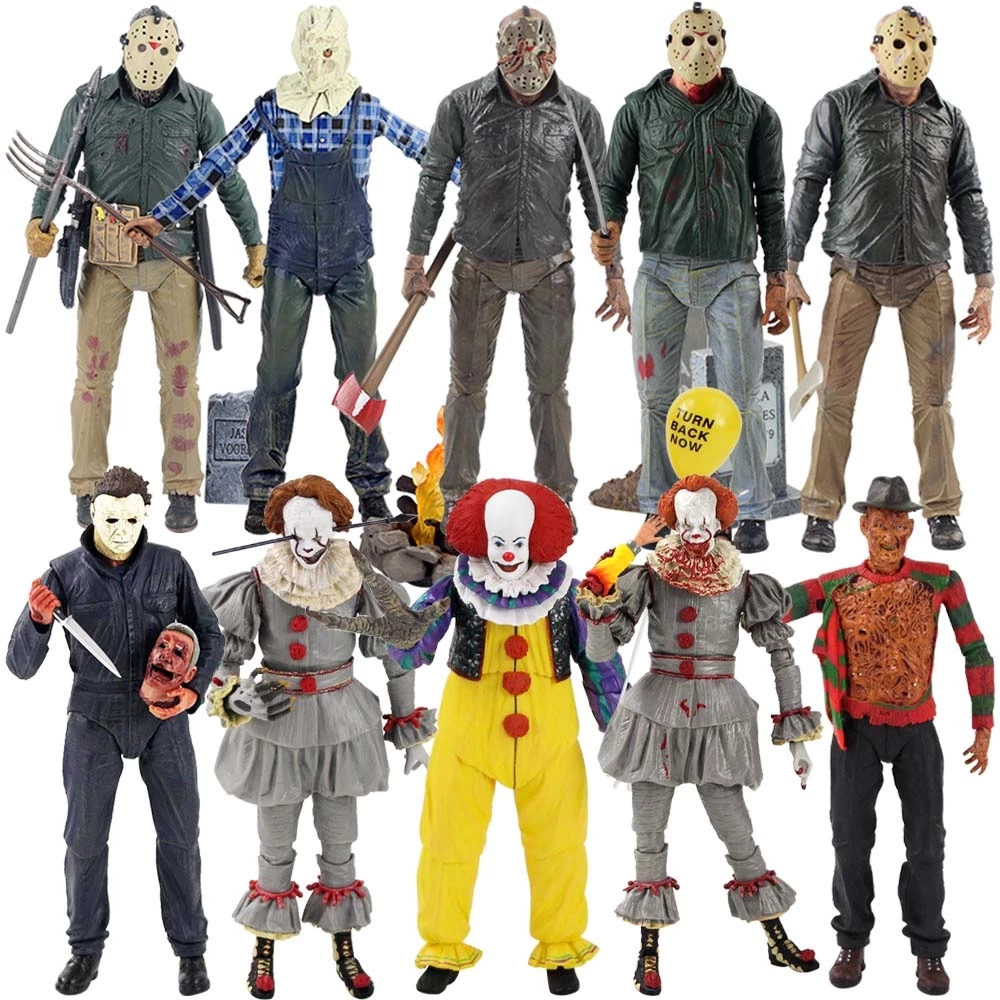 18cm NECA Action Figure 13th Part 3 Jason Leatherface Chainsaw Michael Myers IT Pennywise Joker PVC Model Doll