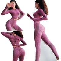 Women's Tracksuit Yoga Set Seamless High Waist Leggings Pants For fitness Female Sportwear Jogging Gym Clothes