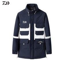 Daiwa Рыболовная Куртка Зима мульти-карман Мандарин Воротник рыболовная рубашка термальная Лоскутная Мужская Уличная хлопковая одежда для рыбалки