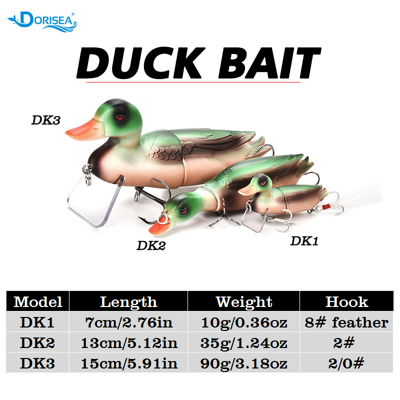DORISEA 1Pcs 7cm/13cm/15cm 3D Eyes Duck Bait Lure Fishing Lures Swimbait Hard Artificial Bait Pike Bass Fishing Lure Crankbait
