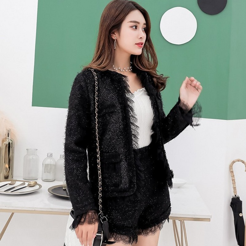 Fashion Ladies Lace Patchwork Qualites Slim Fit Tweed Two Piece Sets Autumn Long Sleeve O-Neck Short Coats High Waist Hot Shorts