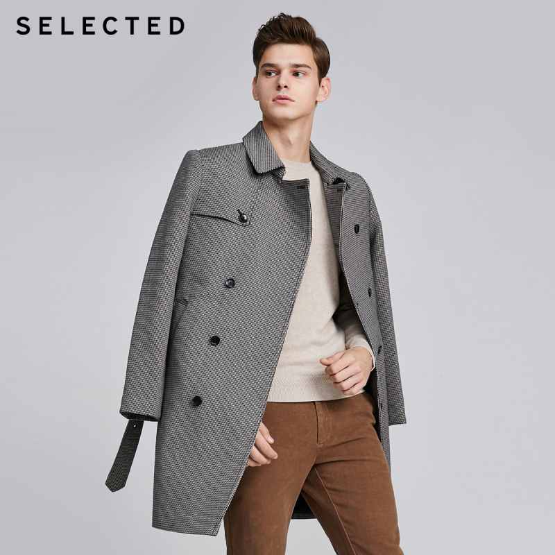SELECTED Men's Winter Houndstooth Double-breasted Woolen Coat S|419427536