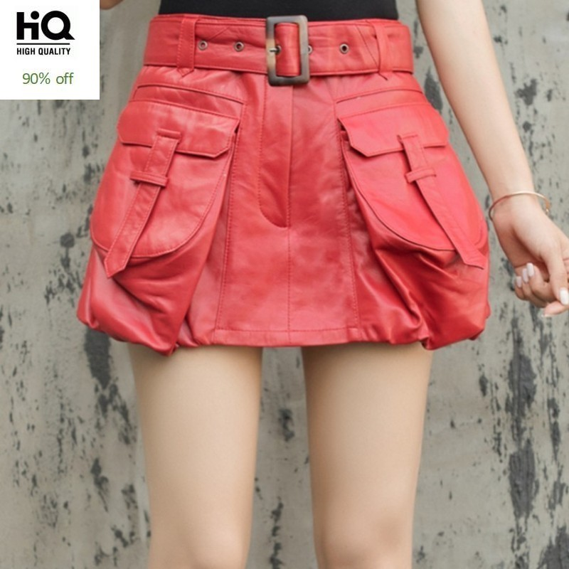 Designer Genuine Leather Skirt Shorts Women Streetwear Sheepskin Work Skirt Shorts High Quality Personality Pocket A-Line Skirts