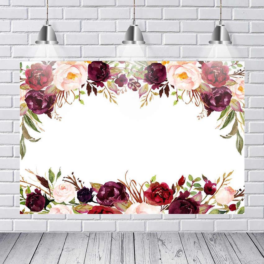Di compleanno Fotografia Sfondo Bianco Rosso Borgogna Fiori Ramo Bianco Muro Personalizzato Foto Sfondo di Studio Sfondo Vinile