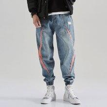 Fashion Streetwear Men Jeans Loose Fit Printed Designer Spliced Denim Cargo Pants Slack Bottom Hip Hop Jeans Men Joggers Pants