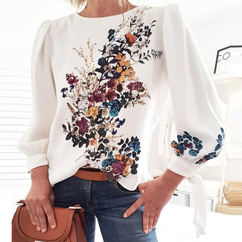 Women  Printed blouse shirts Long Sleeve Loose Style Pullover Blouse Chic Casual Spring Fall Fashion New Trends Top Shirt