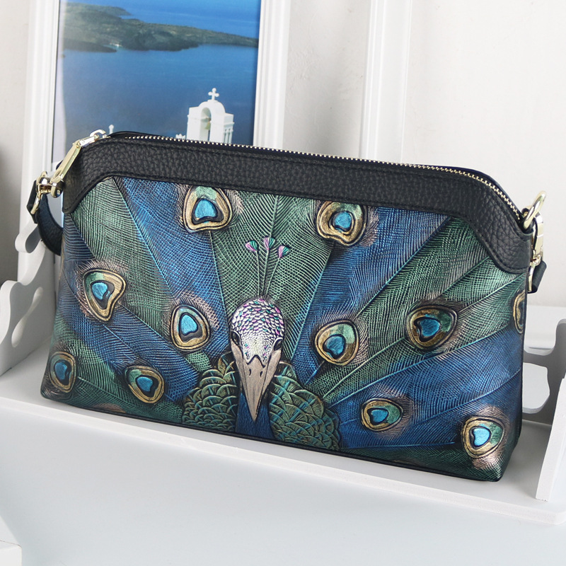 2020 New Female Bag, First Layer Leather Shoulder Bag, Hand-painted Peacock Pattern Handbag, High-end