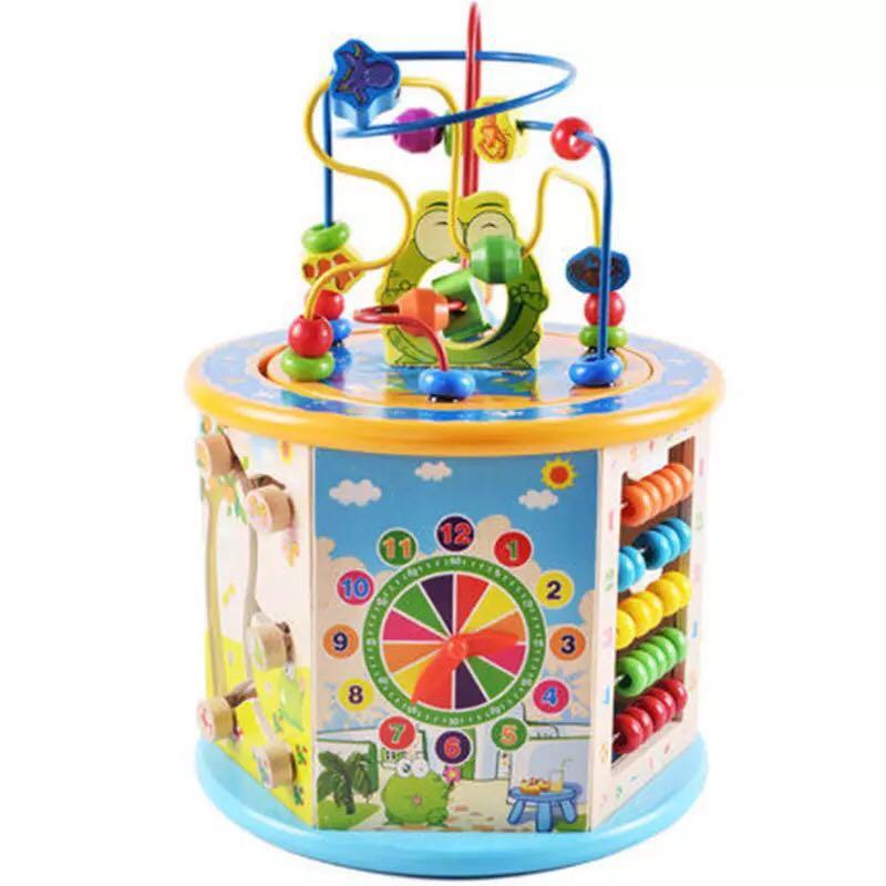 Montessori pour enfant en bois 8 en 1 multi-usages activité Cube Center jouets éducatifs perle labyrinthe début d'apprentissage jouet pour enfants cadeaux - 2