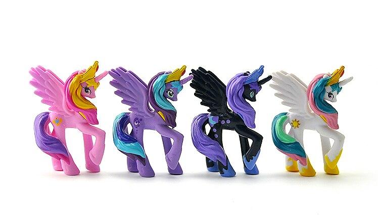 4Pcs/Set Unicorn Cartoon Figure Sun Princess Princess Luna Cadance Nightmare Night DIY PVC Action Toy Figures  6.5CM High