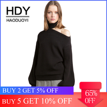 HDY Haoduoyi Apparel 2017 Summer Women Sweaters Casual Loose Solid Color Female Sexy One Shoulder Tops Brief Chic Lady Pullovers