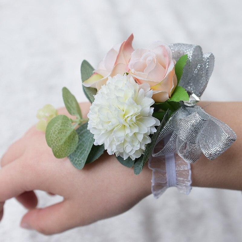 Свадебный цветок на запястье для подружки невесты браслет из розового золота наручные брошь невесты свадебное платье платья Элегантное пл...