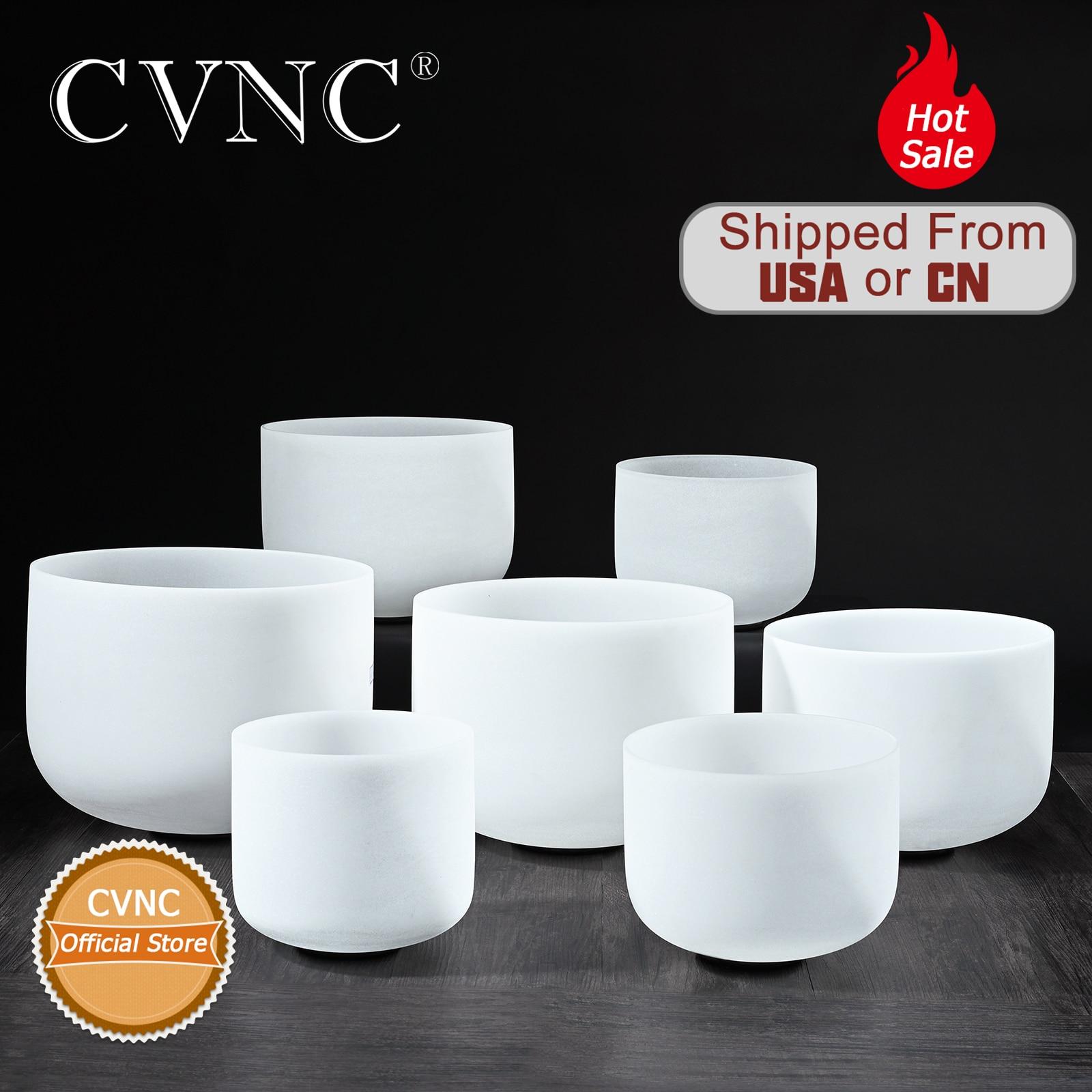 "CVNC Christmas Gifts  6""-12"" Note CDEFGAB Set Of  7PCS Chakra  Frosted Quartz Crystal Singing Bowl"