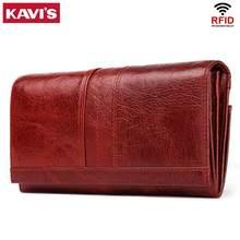 KAVIS Echtem Leder Frauen Lange Geldbörse Weiblichen Kupplungen Geld Brieftaschen Handtasche Handlich Passport walet für Handy Karte Halter