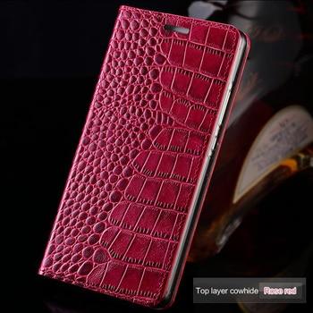 Genuine leather Flip phone case For Xiaomi mi 10 10pro 9 T MI 8 f1 cc9 crocodile Flat texture book Cover For redmi note 8 8pro