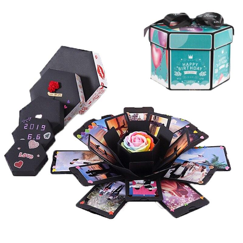 DIY Hexagon Surprise Love Explosion Box Scrapbook Photo Album Anniversary Gift Box For Valentine Birthday Christams Decoration