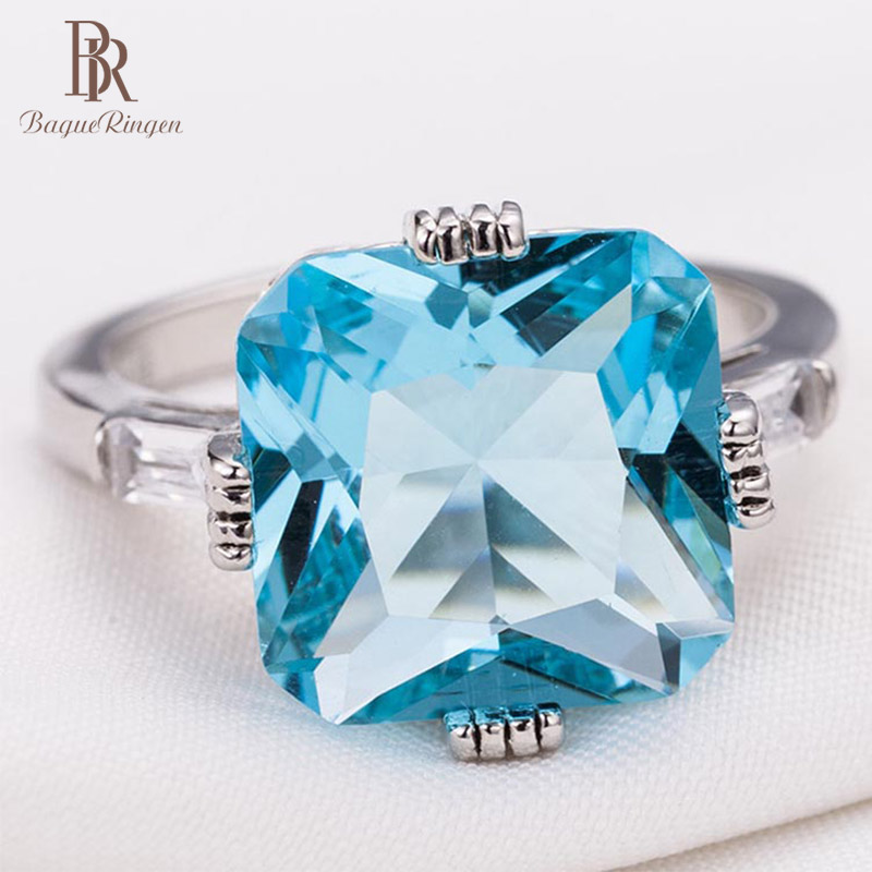 Bague Ringen NEW HOT SALE High Quality Finger Jewelry For Lady Engagement Princess Ring Inlaid Shallow Sea Blue Topaz Gift Party