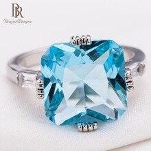 Bague Ringen nueva gran venta joyería de dedo de alta calidad para señora anillo de princesa de compromiso con incrustaciones mar azul Topacio regalo fiesta
