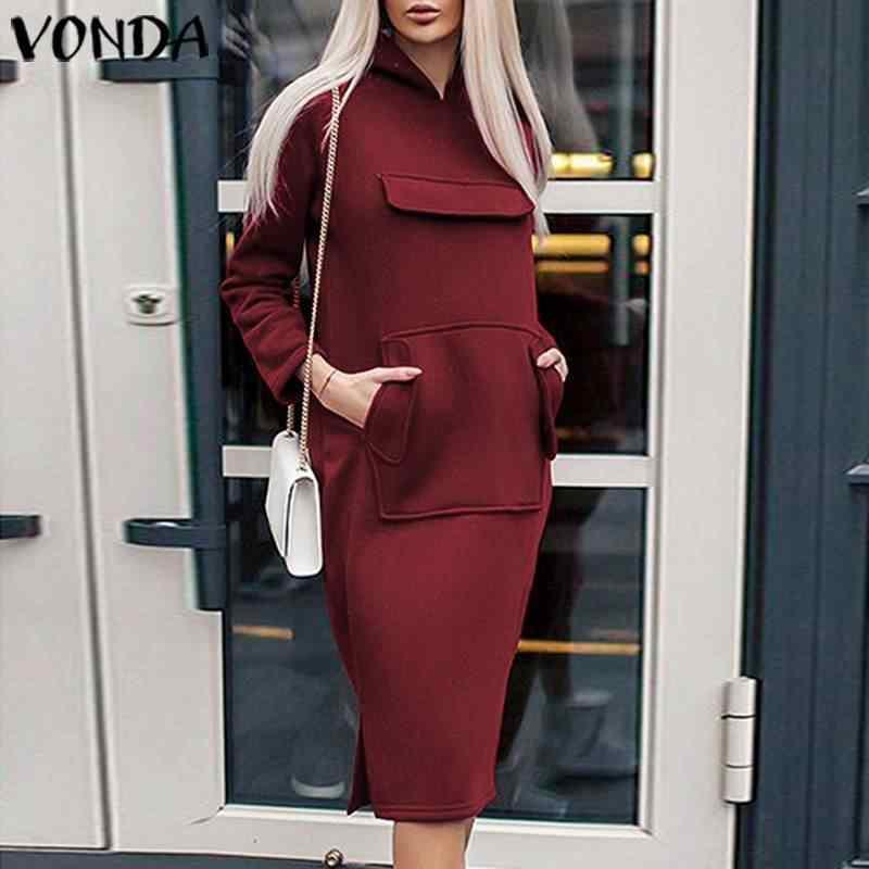VONDA uzun kollu hamile elbisesi Casual gevşek sonbahar parti plaj elbiseleri Bohemian Sundress Vintage Robe Femme S-5XL Vestidos