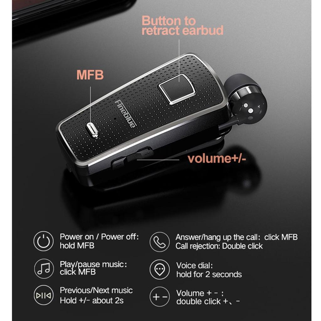 Fineblue F970 Pro Wireless Bluetooth Retractable Headset Handsfree Calling Noise Cancellation