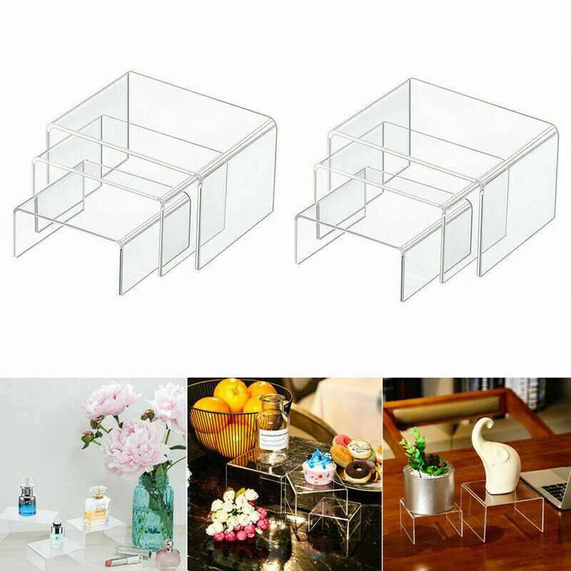 3pc Square Transparent Acrylic Display Column Riser Stand Shelf Window Counter Display Jewelry Gifts Showcase High Quality