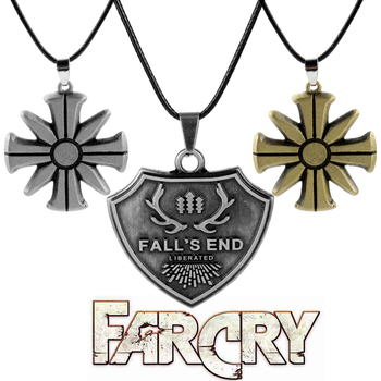 Game Jewelry Far Cry 5 CULT Logo Necklace Men Women Punk Accessories Metal Pendant Fall's End Necklaces image