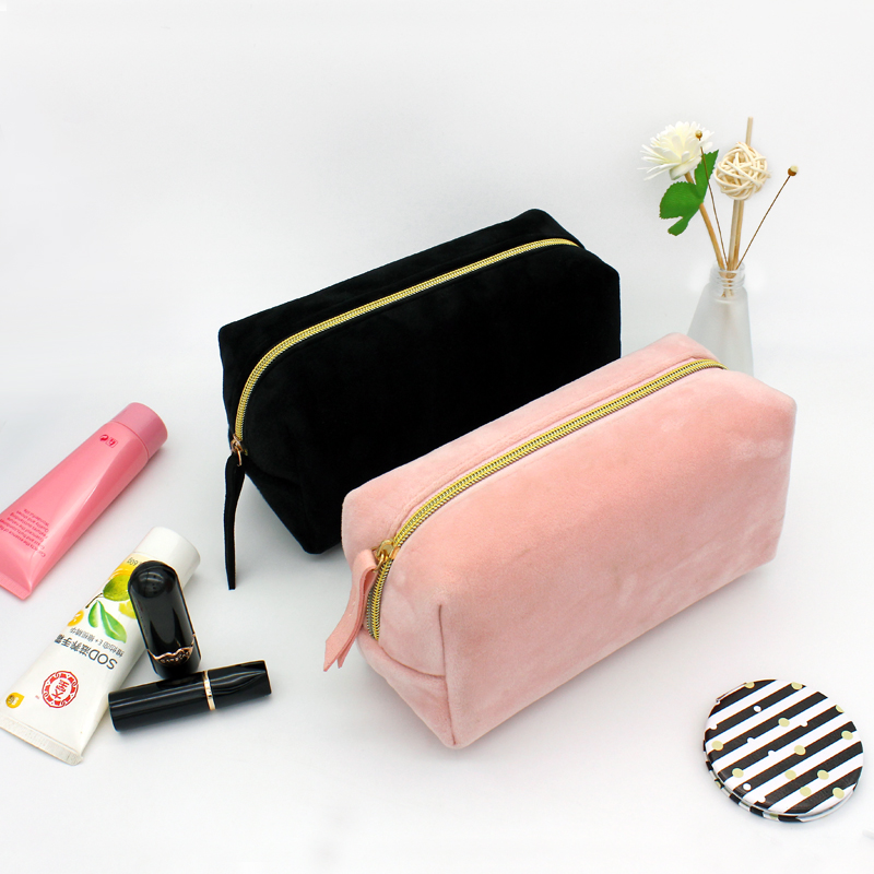 2019 Fashion Solid Plush Pink Cosmetic Bags Women Men Travel Wash Storage Bags Organizer Makeup Cases Beauty Toiletry Kit Wash