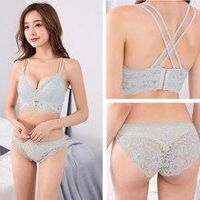 Sexy Lingerie Bra Women Underwear-Wire Brassiere Lace Bralette Floral Bra-Set Panties