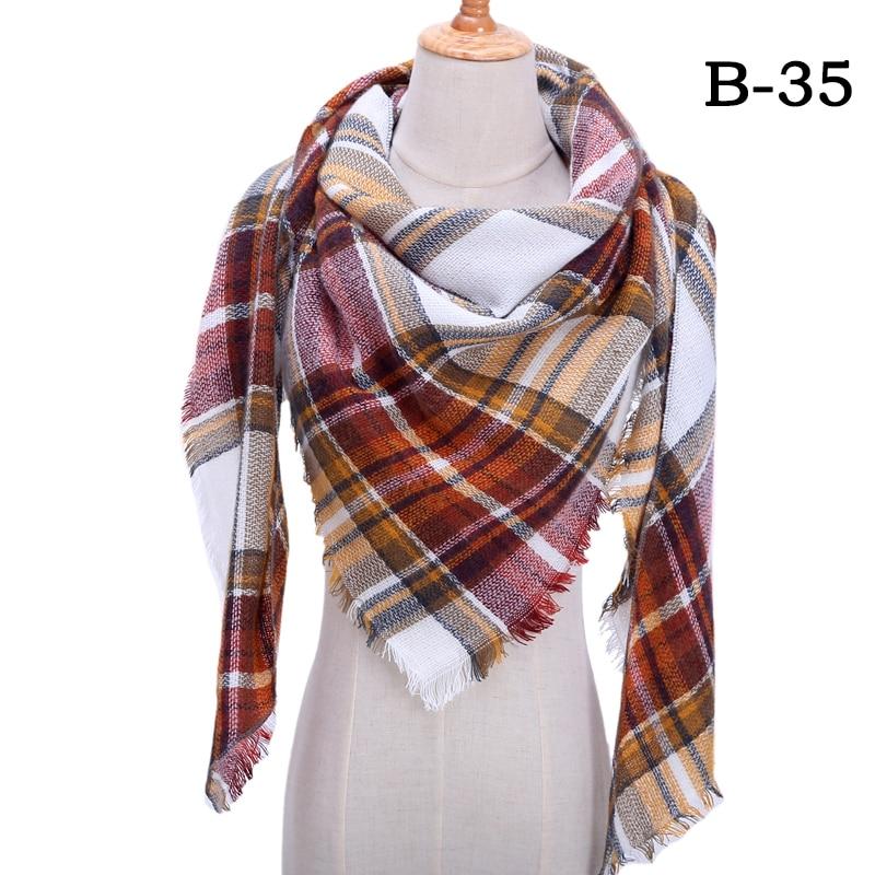Женский зимний шарф в ретро стиле, кашемировые вязаные пашмины шали, женские мягкие треугольные шарфы, бандана, теплое одеяло, новинка - Цвет: bb35