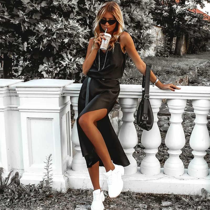קיץ שמלות Dulzura סאטן משי נשים Midi שמלת רצועת צד סדק ללא משענת סקסית מסיבת Streetwear בגדי אלגנטי ארוחת ערב LL99
