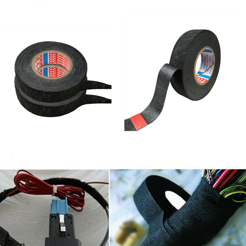 Black Cloth Tape Wire Electrical Wiring Cable Harness Sound Absorbing Cable Kit Accessories Car Auto Suv Truck Tapes 19mm*15m