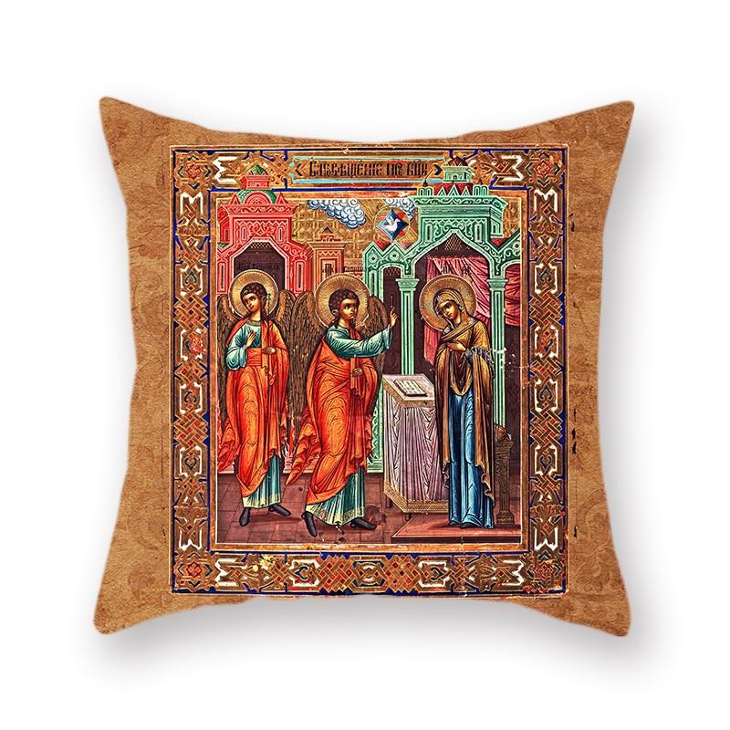 """18/"""" Orthodox Church Icon Cotton Pillow Cases Church Home Sofa Car Printed 45cm"""
