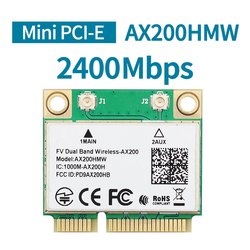 2400Mbps Dual Band  Intel AX200 AX200HMW Wifi Card Wireless For Half Mini PCI-Express 2.4G/5Ghz Wlan Bluetooth 5.0 802.11 ac/ax