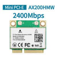 2400Mbps Dual Band Intel AX200 AX200HMW Wifi Card Wireless For Half Mini PCI-Express 2.4G/5Ghz Wlan Bluetooth 5.0 802.11 ac/ax