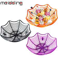 Halloween Spider Web Candy Basket Orange Black Purple Candy Bowl Fruits Basket Halloween Party Supplies Candy Box Decorations halloween black orange feather pettiskirt with sparkle spider web print orange long sleeve top with orange lacing mamw305