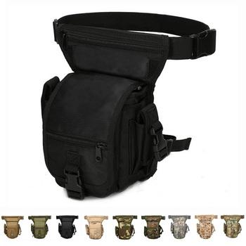 Taktyczna torba opadająca na nogę Fanny udo Pack wodoodporna kamuflaż torba myśliwska saszetka biodrowa jazda motocyklem mężczyźni wojskowa saszetka biodrowa s tanie i dobre opinie demeysis NYLON Tactical Leg Bag About 0 45kg 30 x 15 x 13cm Black Green Tan CP ACU Jungle Camo Sand Camo
