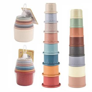 Education Bathtub Toy Funny Wheat Straw Hourglass Stacking Cup ScienceStacking Ring Tower Toy Early Education Technology