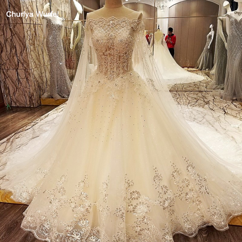 LS97843 Lace Crystal Wedding Dresses With Long Cape Ball Gown Corset Back Abiti Da Sposa Ivory And Champagne Real Photos
