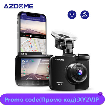 "Azdome Updated 2.4"" Car DVR GS63H 4K Built in WiFi GPS Dashboard Camera Dual Lens 2160P Night Vision Recorder 1080P Rear Camera image"