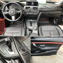 For BMW 3 Series F30 F31 F32 Interior Central Control Panel Door Handle 5D Carbon Fiber Stickers Decals Car styling Accessorie