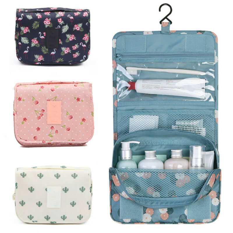 Woman's Travel Makeup Cosmetic Bag Flamingo Cherr Pink Stripe Cactus Flamingo Toiletry Wash Case Organizer Storage Hanging Pouch