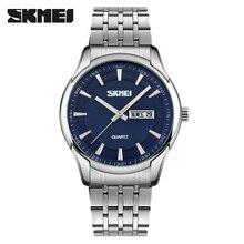 SKMEI Business Quarz Uhren Männer Wasserdicht Datum Armbanduhr Edelstahl Leder Band Männlichen Uhr montre homme 9125 Stunde