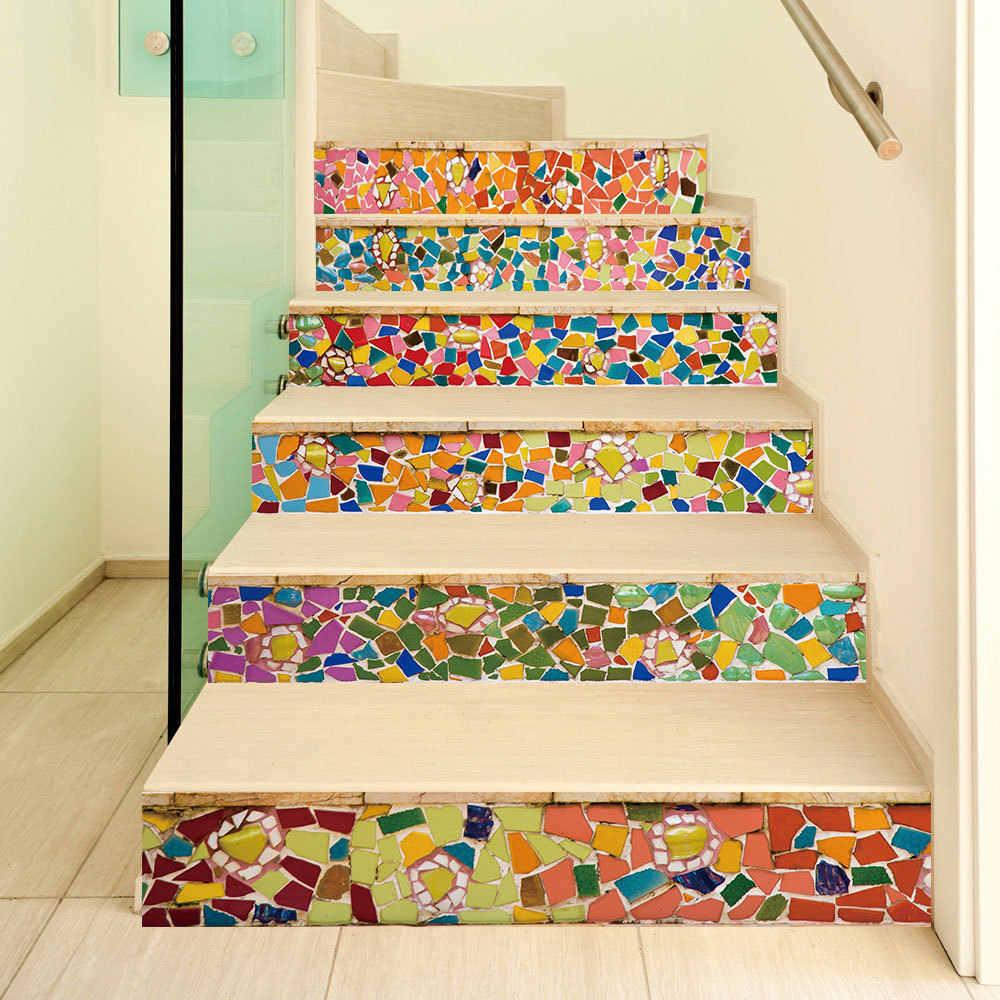 6pcs 3D Brick Stair Sticker Staircase Riser Decal Self Adhesive PVC Wall Decal