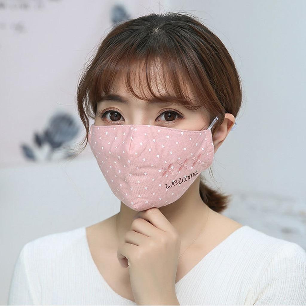 Maschera antipolvere lavabile per uomo e donna, maschera per uomo e donna, maschera in cotone con stampa di lettere, maschera in cotone traspirante