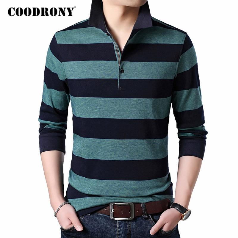 COODRONY бренд натуральный хлопок Футболка Для мужчин одежда 2020 Новое поступление футболка с длинными рукавами Для мужчин Одежда высшего качес...