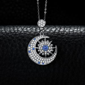 Image 3 - JPalace Moon Star Created Spinel Pendant Necklace 925 Sterling Silver Gemstones Choker Statement Necklace Women Without Chain
